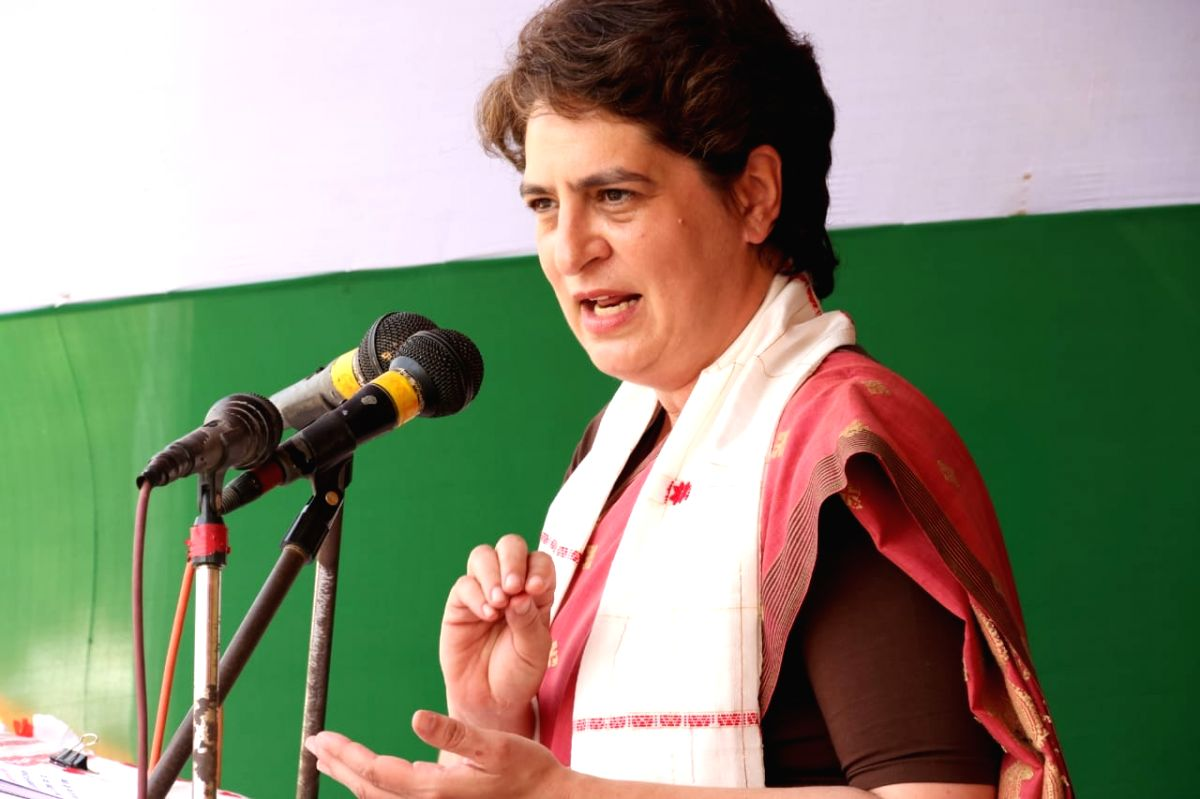 Assam: Priyanka Gandhi Vadra addressing a mega rally at Sarupathar LAC in Golaghat Dist.