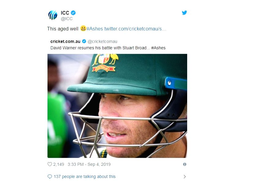 Australia opener David Warner's poor show with the bat continued in the fourth Ashes Test as well after he was dismissed for the fifth time in the ongoing Ashes series by fast bowler Stuart Broad.