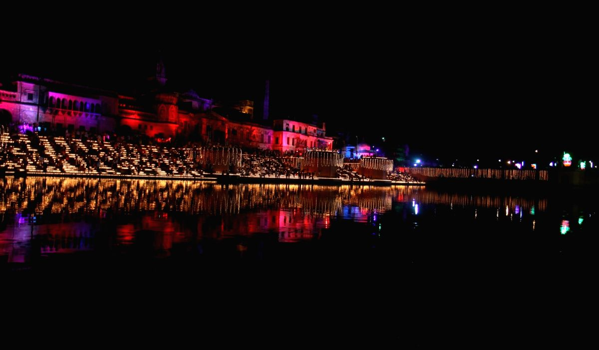 A view of banks of the Saryu river during 'Deepotsav' celebration hosted by the Tourism Department of the Uttar Pradesh government in Ayodhya