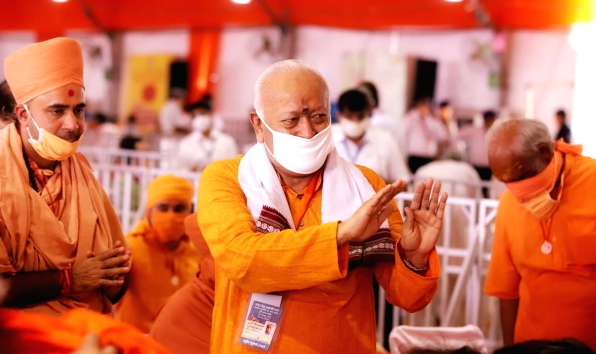 Ayodhya: RSS chief Mohan Bhagwat during the ground breaking ceremony of Ram Temple in Ayodhya on Aug 5, 2020.