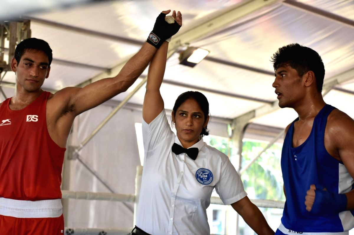 Baddi: Ashish Chaudhary of Himachal Pradesh after defeating Rohan Khurpia of Madhya Pradesh with a 5-0 scoreline during the 4th Elite National Boxing Championship in the middleweight (75kg) category, at Baddi University of Emerging Sciences and Techn