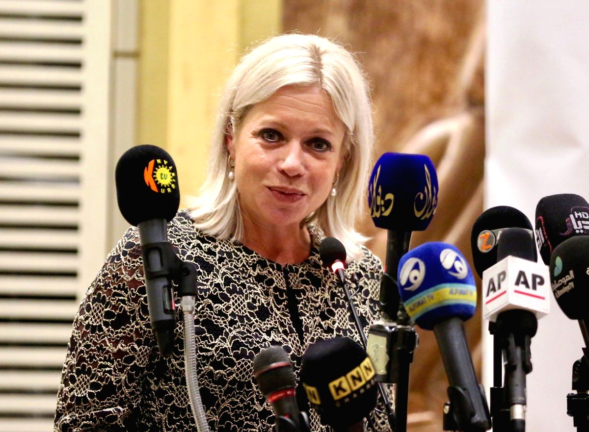 BAGHDAD, Aug. 1, 2019 (Xinhua) -- UN Secretary-General's Special Representative for Iraq Jeanine Hennis-Plasschaert speaks at a press conference in Baghdad, Iraq, on Aug. 1, 2019. Jeanine Hennis-Plasschaert on Thursday underlined the need to end the