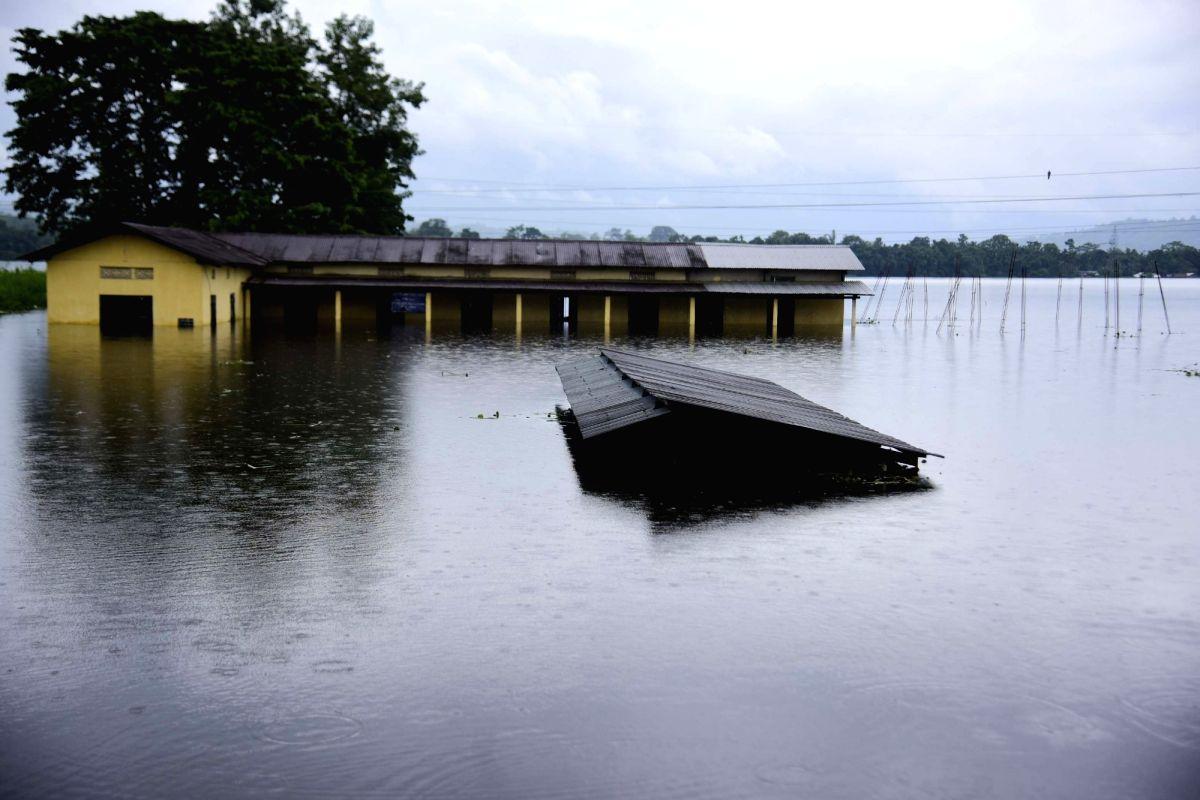 Bagori: A view of flood hit Bagori near Kaziranga National Park in Assam on July 15, 2019.