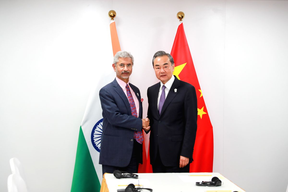 BANGKOK, Aug. 1, 2019 (Xinhua) -- Chinese State Councilor and Foreign Minister Wang Yi (R) meets with India's Minister of External Affairs Subrahmanyam Jaishankar in Bangkok, Thailand, Aug. 1, 2019. (Xinhua/Zhang Keren/IANS)