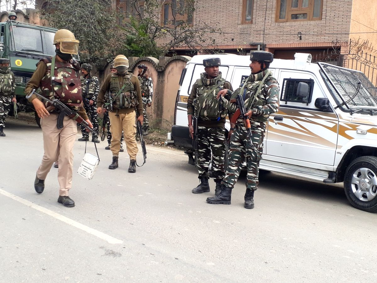 :Baramulla: Security beefed up after security forces shot dead two militants in Jammu and Kashmir's Baramulla town on Oct 19, 2018. .