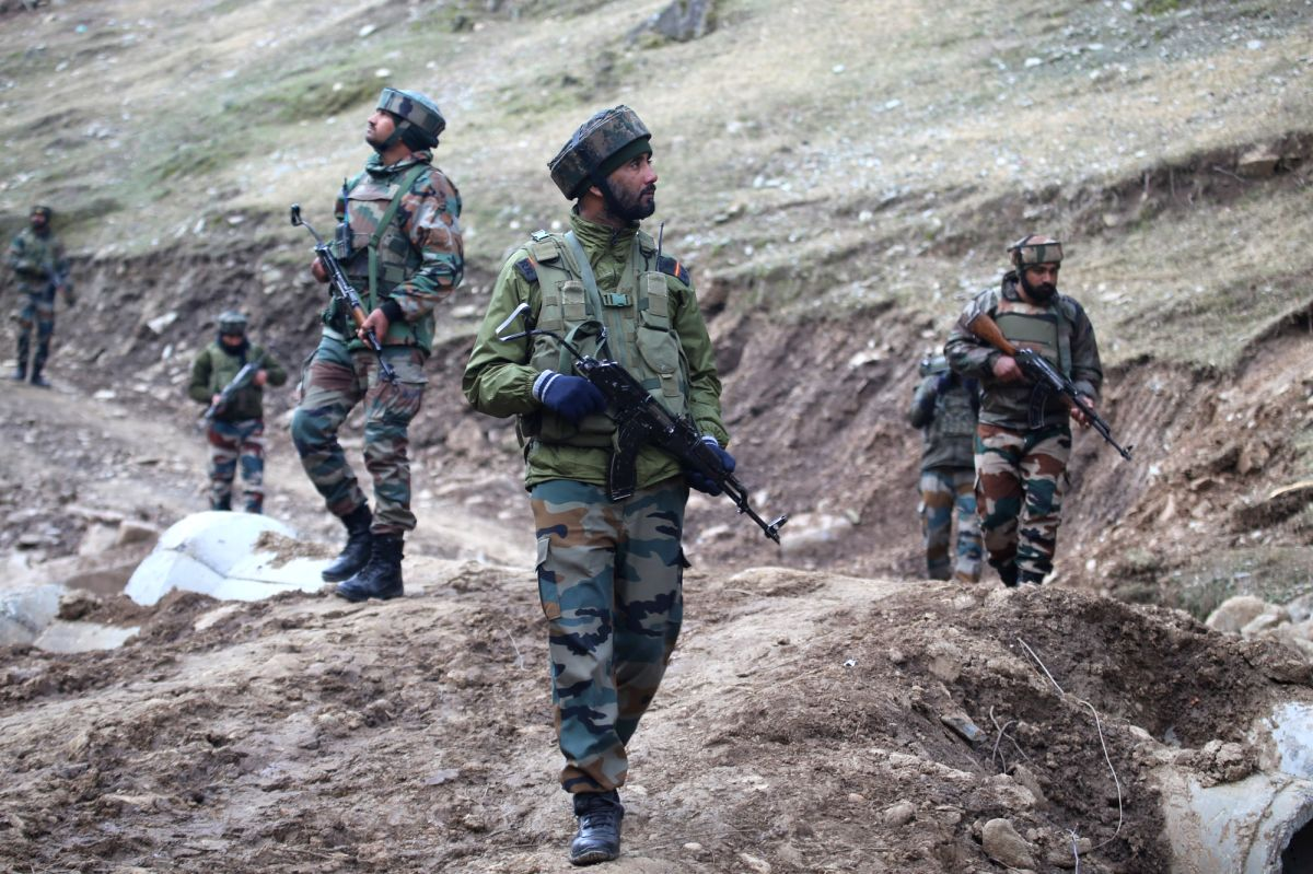 Baramulla: Security beefed up near Line of Control (LoC) in Churanda village of Jammu and Kashmir's Uri a day after Indian and Pakistani troops traded heavy fire across the LoC in Baramulla, on Feb 20, 2018.