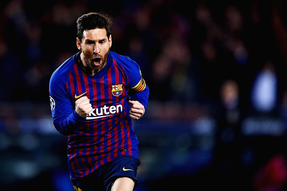 BARCELONA, April 17, 2019 (Xinhua) -- FC Barcelona's Lionel Messi celebrates during the UEFA Champions League quarterfinal second leg soccer match between FC Barcelona and Manchester United in Barcelona, Spain, on April 16, 2019. Barcelona won 3-0 an