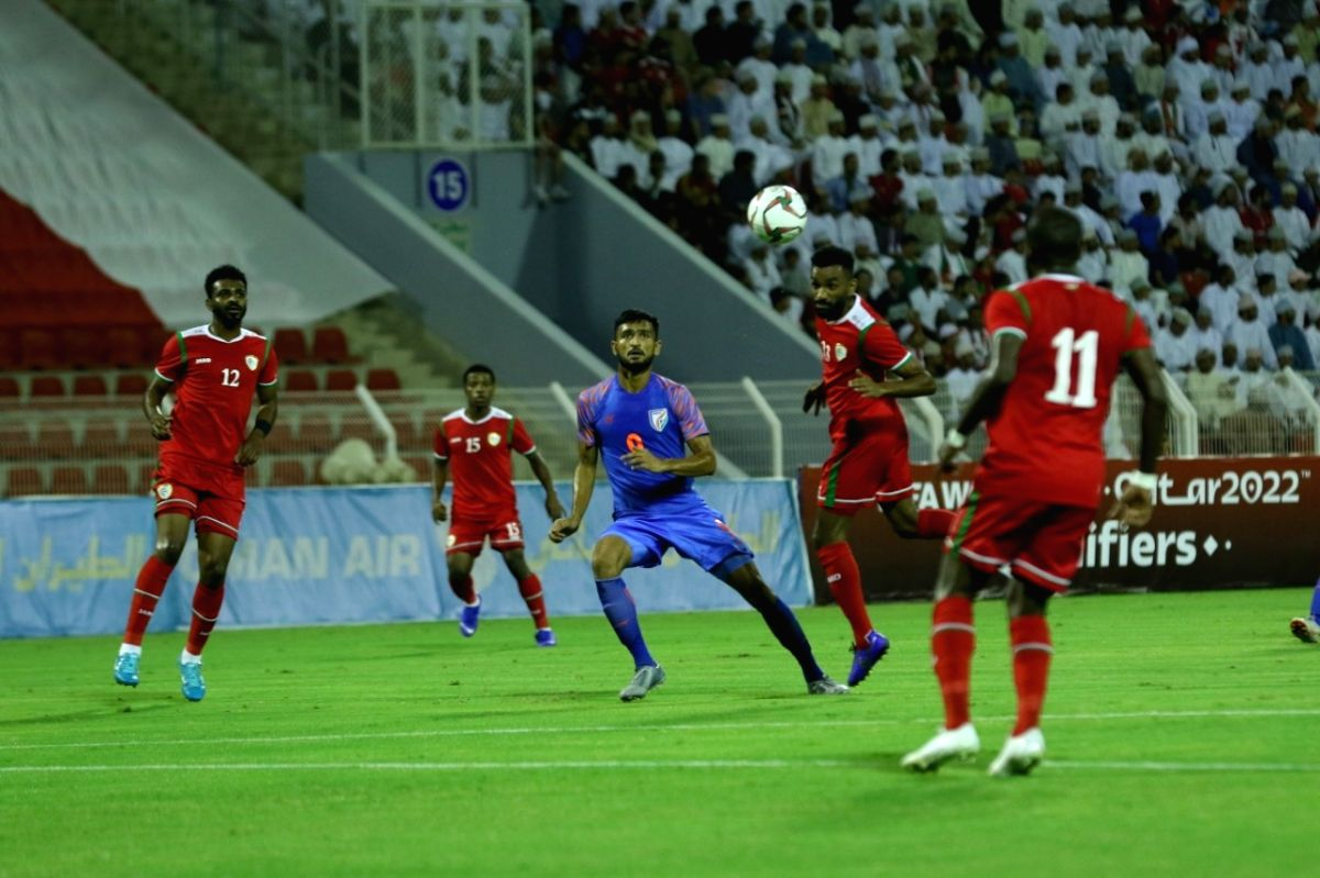Bawshar: Players in action during the FIFA 2022 World Cup Qualifier match between India and Oman at the Sultan Qaboos Sports Complex in Bawshar, Muscat on Nov 19, 2019.