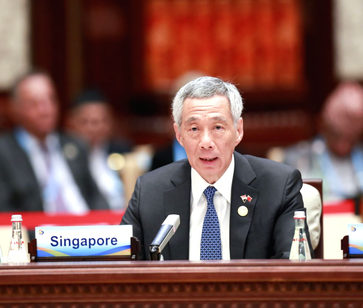 BEIJING, April 27, 2019 (Xinhua) -- Singaporean Prime Minister Lee Hsien Loong speaks at the leaders' roundtable meeting of the Second Belt and Road Forum for International Cooperation at the Yanqi Lake International Convention Center in Beijing, cap
