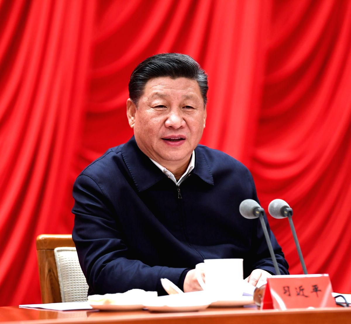 BEIJING, Jan. 21, 2019 (Xinhua) -- Chinese President Xi Jinping, also general secretary of the Communist Party of China (CPC) Central Committee and chairman of the Central Military Commission, addresses the opening ceremony of a study session at the