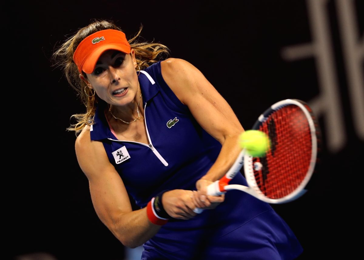 BEIJING, Oct. 2, 2017 - Alize Cornet of France returns the ball during the women's singles second round match against Angelique Kerber of Germany at 2017 China Open tennis tournament in Beijing, ...