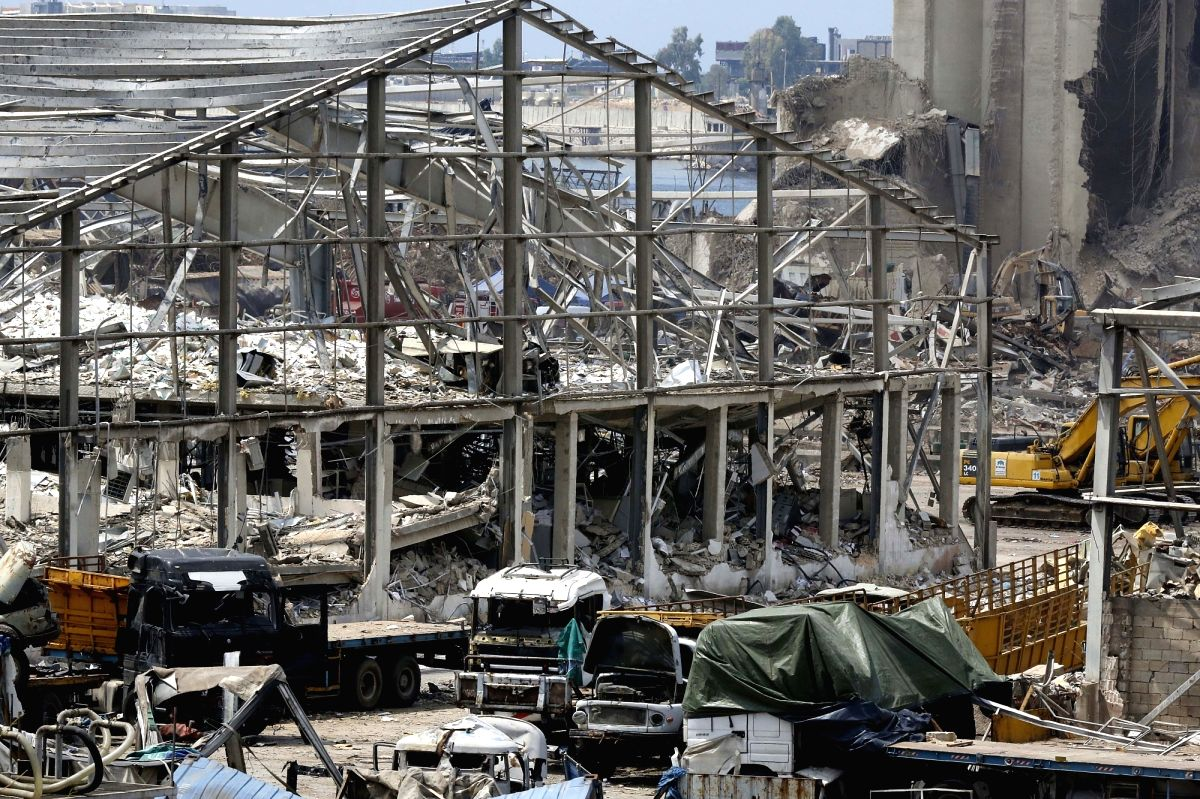Beirut, Aug. 14, 2020 (Xinhua) -- Photo taken on Aug. 14, 2020 shows damages at the Port of Beirut in Lebanon. Two explosions rocked Beirut on Aug. 4, killing 177 people and wounding at least 6,000. (Xinhua/Bilal Jawich/IANS)