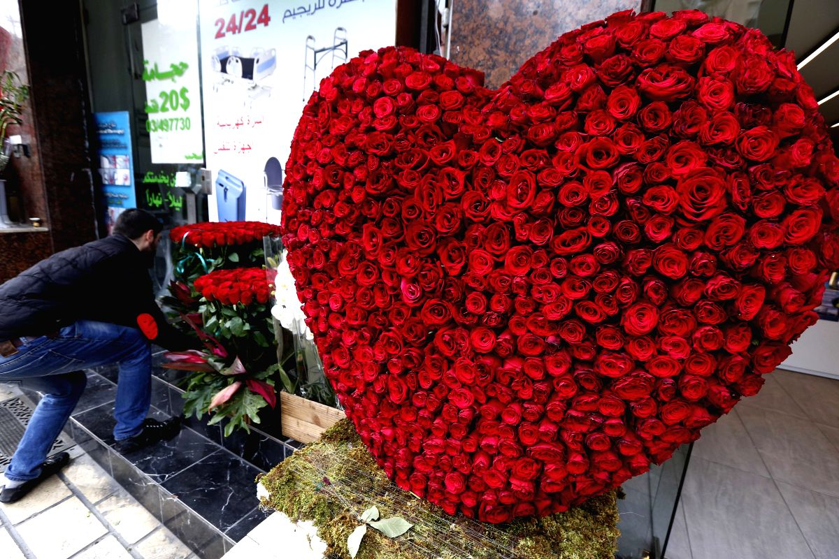 BEIRUT, Feb. 14, 2019 (Xinhua) -- A heart-shaped roses decoration is seen in front of a flower shop during the Valentine's Day in Beirut, Lebanon, on Feb. 14, 2019. (Xinhua/Bilal Jawich/IANS)