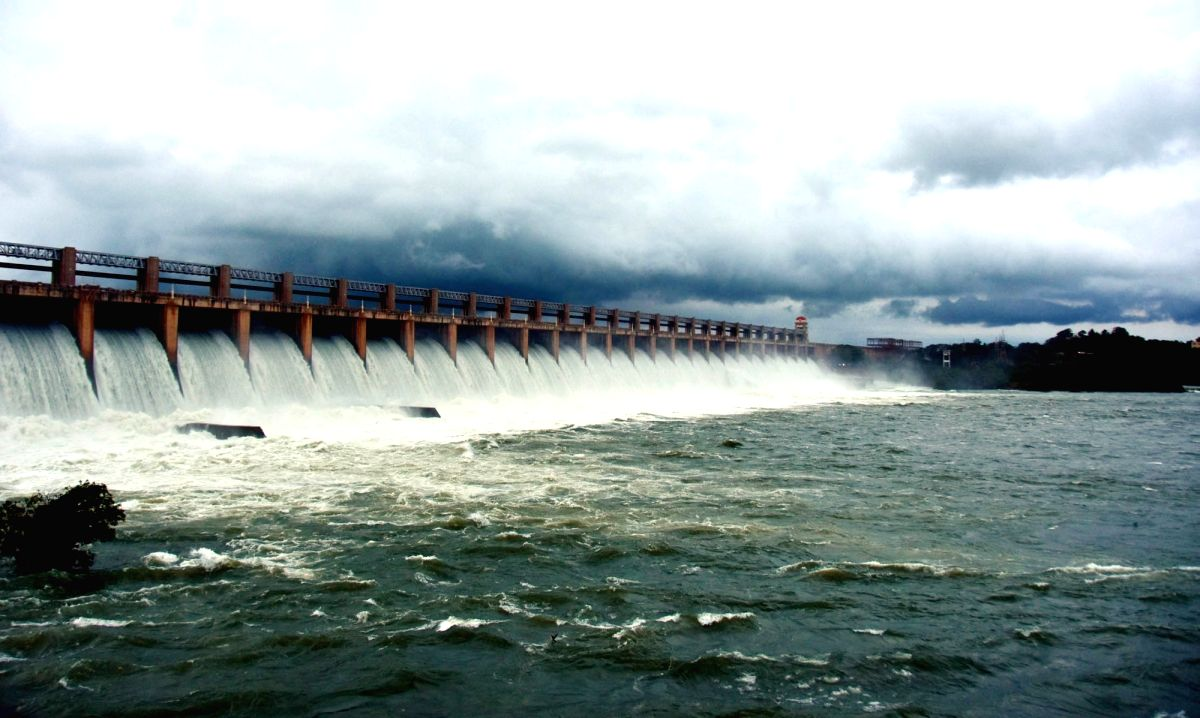 Bellary: All the gates of the Tungabhadra Dam were lifted to release excess water after Karnataka's Bellary district received heavy rainfall, on Oct 23, 2019.