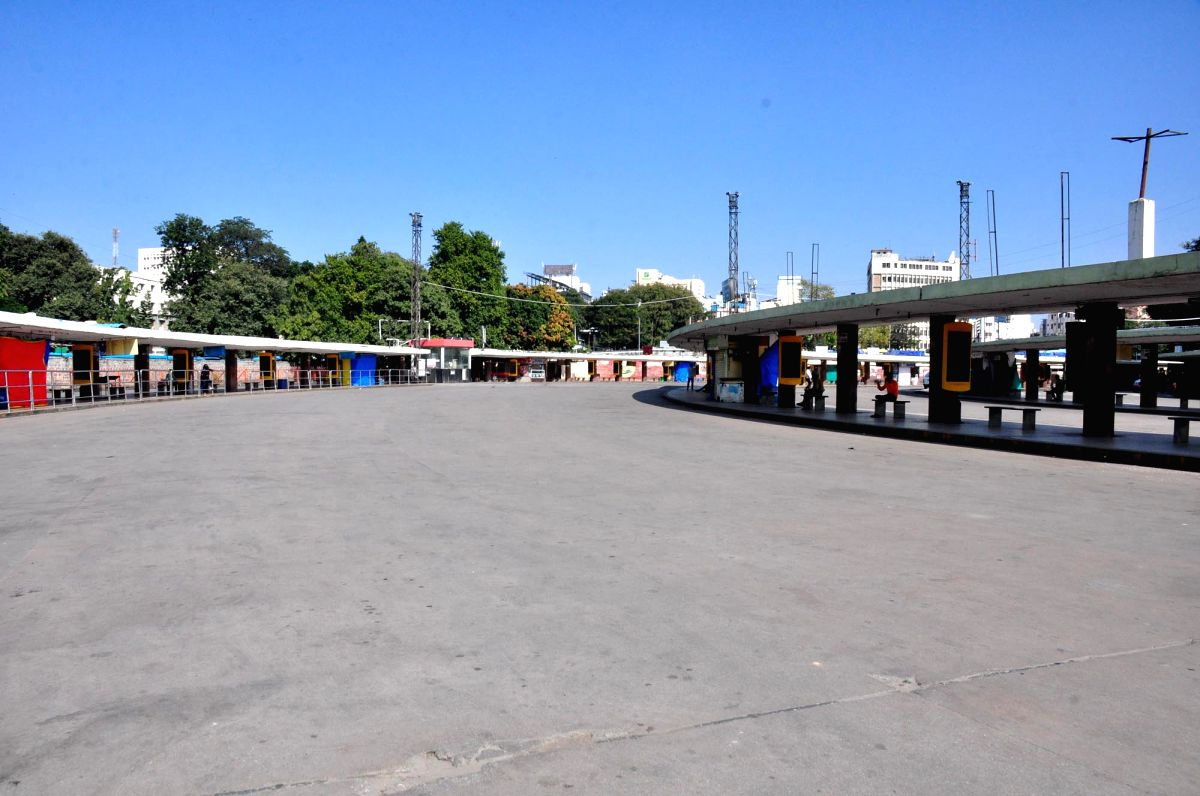 Bengaluru: A bus depot bears a deserted look during second day of strike by Bangalore Metropolitan Transport Corporation (BMTC) and Karnataka State Road Transport Corporation (KSRTC) employees, in Bengaluru on Dec 11, 2020.