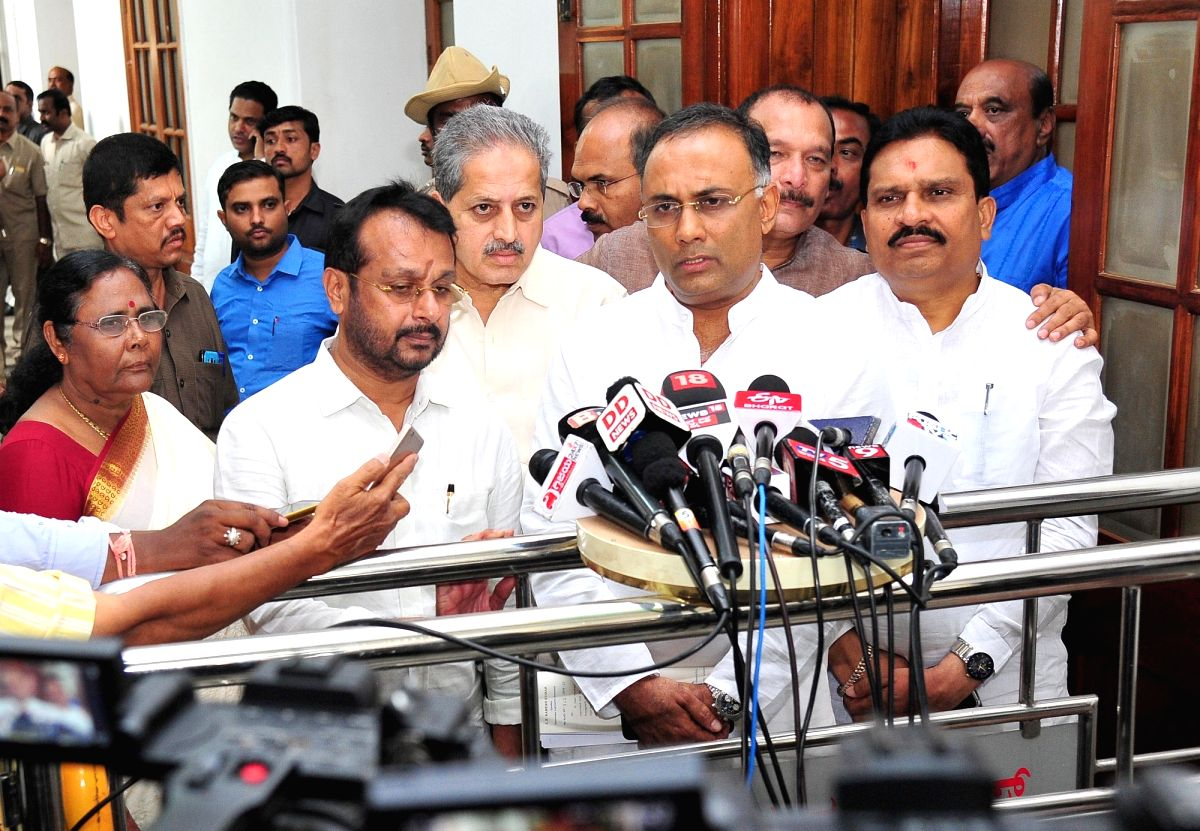 Bengaluru: Congress leader Dinesh Gundu Rao talks to media personnel after the Congress Legislature Party (CLP) meeting at Vidhana Soudha in Bengaluru, on July 9, 2019.