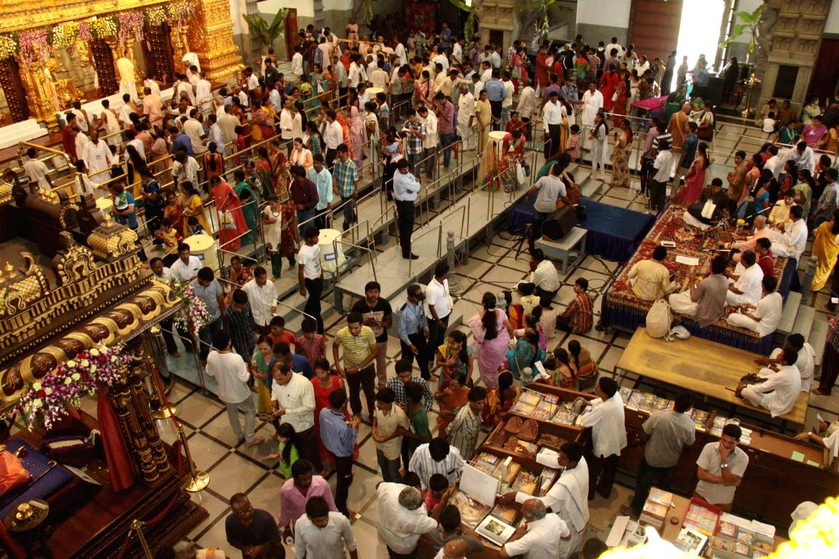 Bengaluru: Devotees offer prayers on the occasion of Janmashtami celebration at ISKCON Temple in Bengaluru, Sep 5, 2015.