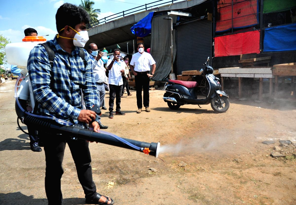 Bengaluru: Disifectants being sprayed across the city during complete lockdown imposed in 560 districts in 32 states and union territories across the country as precautionary measures to contain the spread of the coronavirus, in Bengaluru on March 24