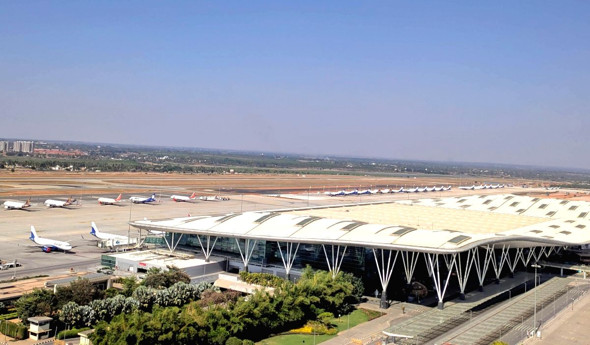Bengaluru: Flights being parked at Bengaluru International Airport during a nationwide lockdown in the wake of novel coronavirus (COVID 19) pandemic, in Bengaluru on April 8, 2020.
