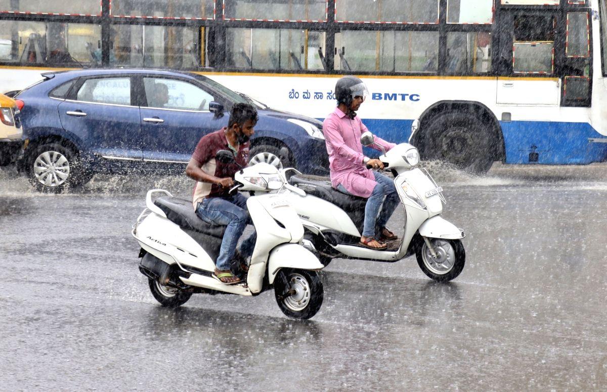 Bengaluru: Heavy rains lead to water logging in Bengaluru on Oct 23, 2020.