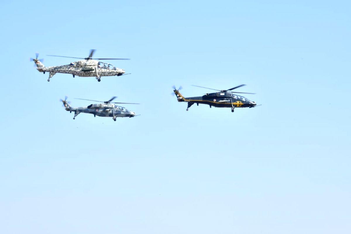 "Bengaluru: Hindustan Aeronautics Limited (HAL) built Rudra helicopter during ""Aero India 2019"" - air show at Yelahanka Air Force Station, in Bengaluru, on Feb 20, 2019."