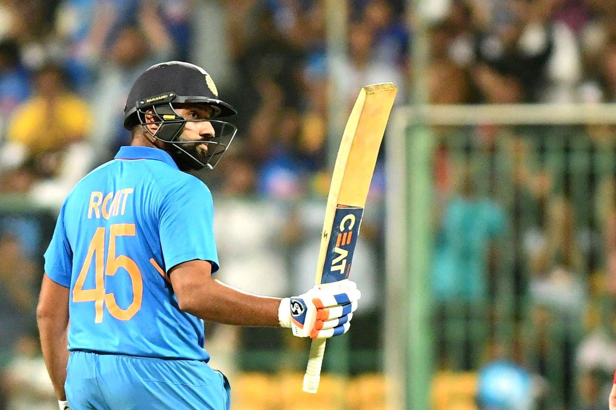 Bengaluru: India's Rohit Sharma celebrates his century during the third and final ODI match between India and Australia, at M. Chinnaswamy Stadium in Bengaluru on Jan 19, 2020.