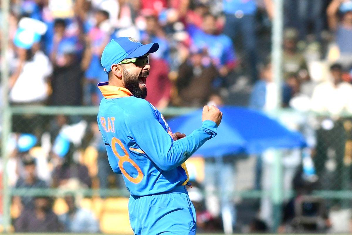 Bengaluru: Indian skipper Virat Kohli celebrates the wicket of Mitchell Starc during the third and final ODI match between India and Australia, at M. Chinnaswamy Stadium in Bengaluru on Jan 19, 2020.