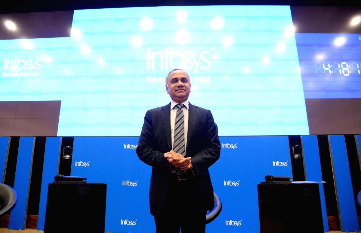Bengaluru: Infosys CEO Salil Parekh during a press conference to announce the company's second quarter (Q2) results for the fiscal year 2019-20, in Bengaluru on Oct 11, 2019.