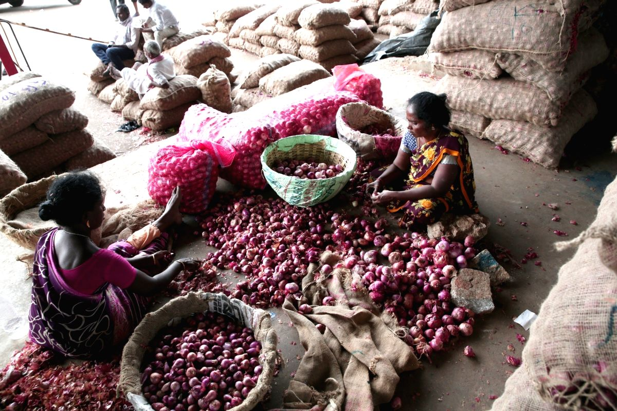 Bengaluru: Onion stock at Agricultural Produce Market Committee (APMC), Yeswanthpur. Onion prices have shot up in most retail markets, in Bengaluru; on Nov 29, 2019.