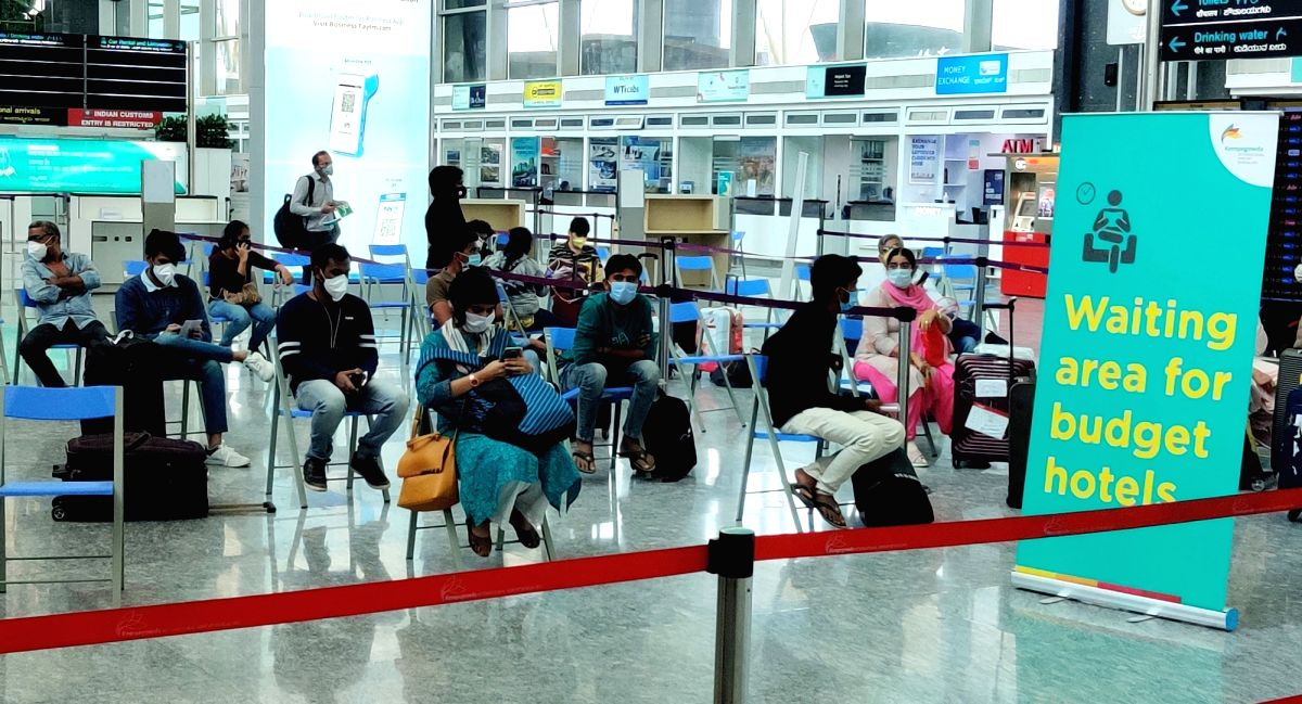 Bengaluru: Passengers arrive at the Kempegowda International Airport in Bengaluru after India resumed civil passenger flight services on Monday, exactly two-months after it had suspended these operations due to the outbreak of Covid-19, on May 25, 20