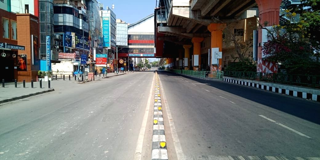 Bengaluru: The MG Road bears a deserted look during the nationwide 'Janata Curfew' imposed to contain the spread of COVID-19 (coronavirus), in Bengauru on March 22, 2020.