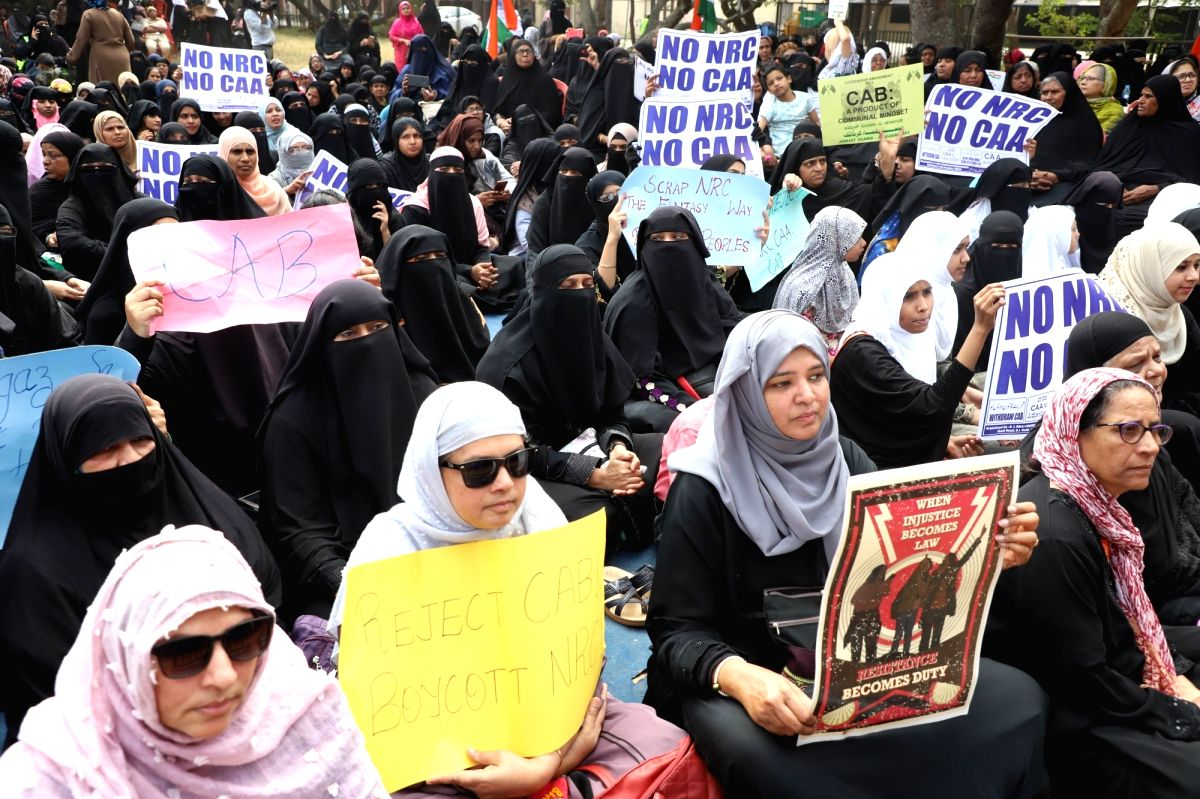 Bengaluru: Women participate in a protest rally against the CAA and NRC at Tannery Road, in Bengaluru on Jan 18, 2020.