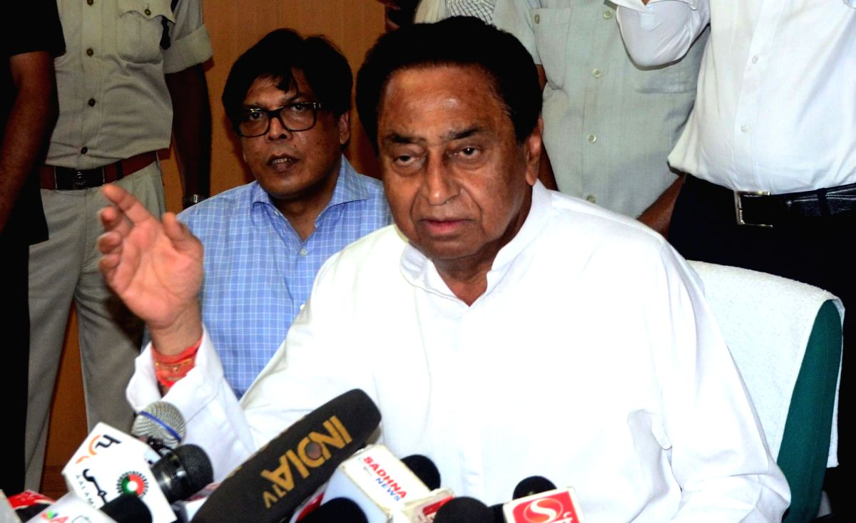 Bhopal: Madhya Pradesh Chief Minister Kamal Nath addresses a press conference in Bhopal, on May 29, 2019.