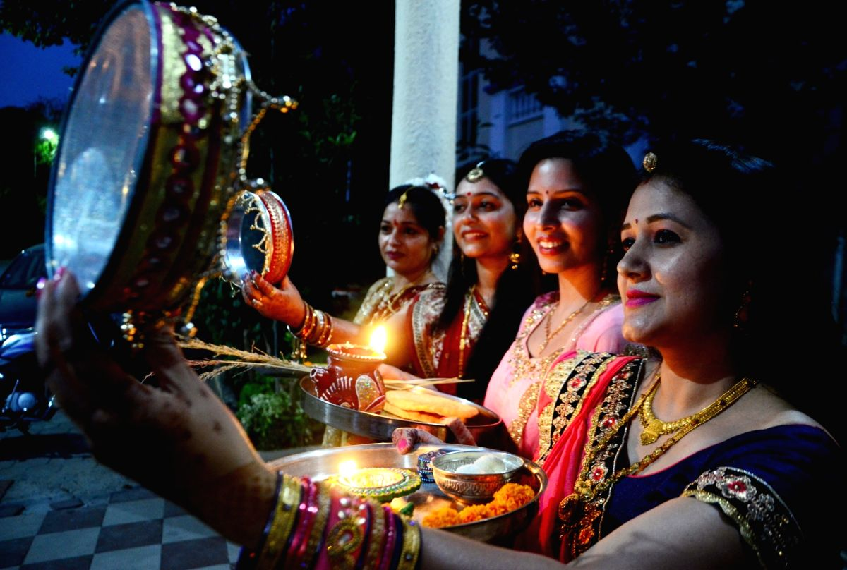 "Bhopal: Women celebrate ""Karva Chauth"" in Bhopal on Oct 27, 2018."