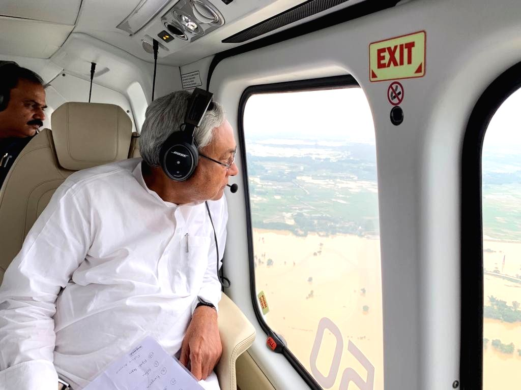 Bihar: Bihar Chief Minister Nitish Kumar conducts an aerial survey of the flood-hit areas in Bihar on July 14, 2019.