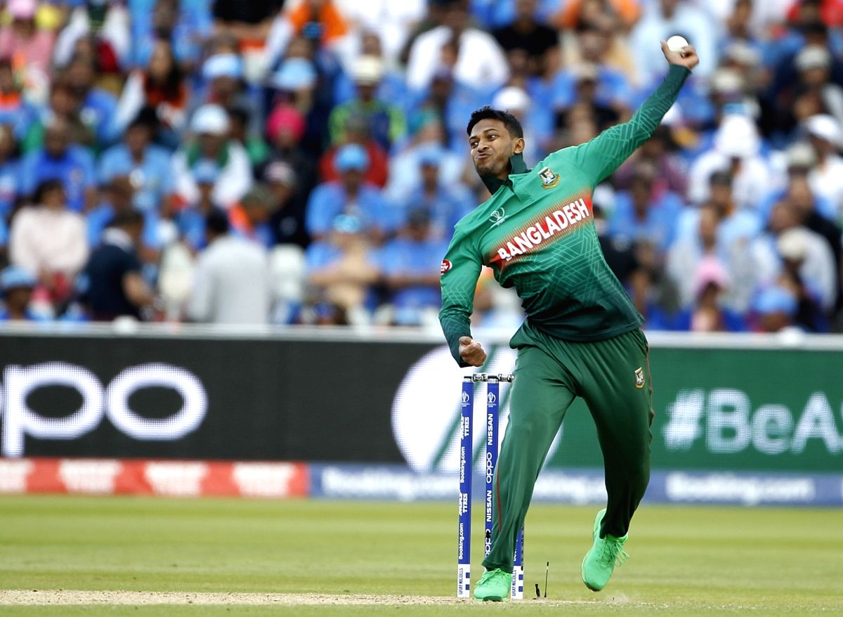 Birmingham: Bangladesh's Shakib Al Hasan in action during the 40th match of World Cup 2019 between India and Bangladesh at Edgbaston Stadium in Birmingham, England on July 2, 2019. (Photo: Surjeet Yadav/IANS)