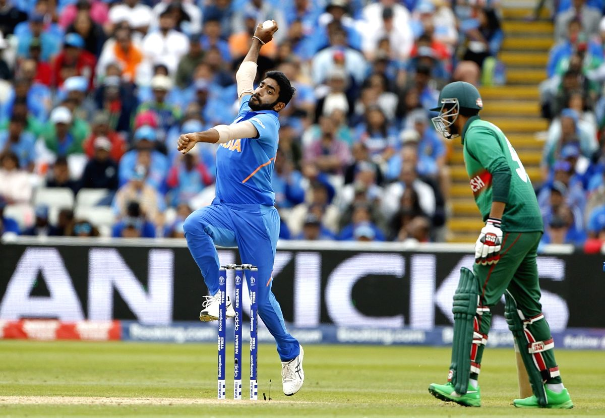Birmingham: India's Jasprit Bumrah in action during the 40th match of World Cup 2019 between India and Bangladesh at Edgbaston stadium in Birmingham, England on July 2, 2019. (Photo: Surjeet Yadav/IANS)