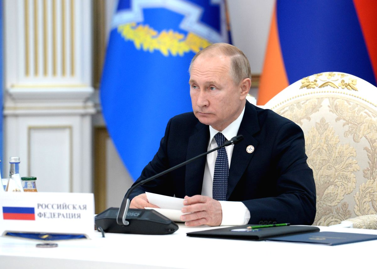 BISHKEK, Nov. 28, 2019 (Xinhua) -- Russian President Vladimir Putin speaks at a meeting of the Collective Security Council in Bishkek, Kyrgyzstan, Nov. 28, 2019. Russia will work to help Collective Security Treaty Organization (CSTO) member countries