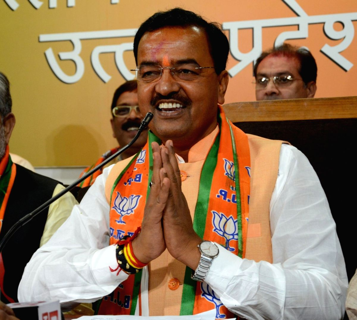BJP UP chief Keshav Prasad Maurya addresses a press conference regarding party's performance in the assembly elections in Lucknow on March 11, 2017.