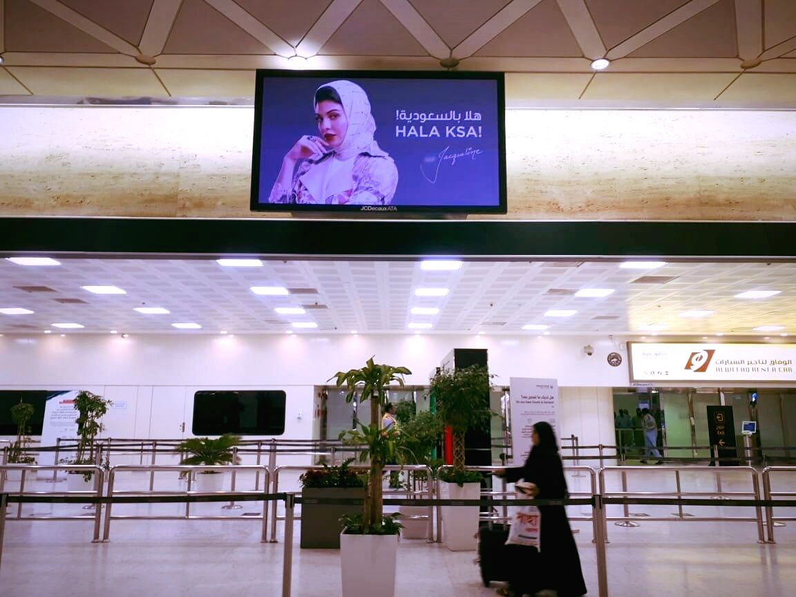 Bollywood actress Jacqueline Fernandez is the first female celebrity to get visibility at the Kingdom of Saudi Arabia (KSA) airport.