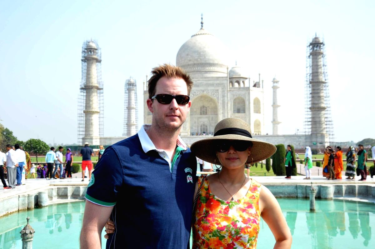 Preity Zinta with her husband Gene Goodenough when they visited the Taj Mahal