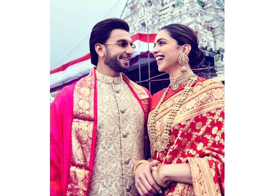 Bollywood couple Deepika Padukone and Ranveer Singh started celebrations of their first wedding anniversary on November 14 by visiting Lord Venkateswara temple.