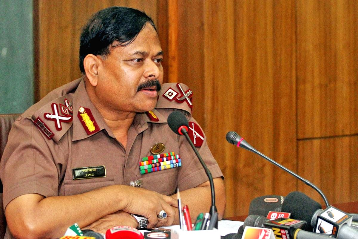 Border Guard Bangladesh chief Maj Gen Aziz Ahmed during a press conference at BGB headquarters after returning from New Delhi where he attended a border coordination meeting, in Dhaka, Bangladesh on Aug 26, 2014. (Photo: bdnews24/IANS)