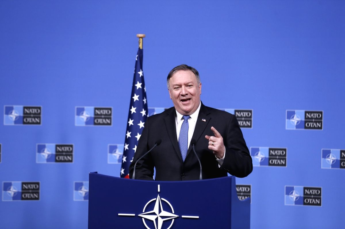 BRUSSELS, Dec. 4, 2018 (Xinhua) -- U.S. Secretary of State Mike Pompeo addresses a press conference after the NATO foreign ministers' meeting in Brussels, Belgium, on Dec. 4, 2018. (Xinhua/Ye Pingfan/IANS)