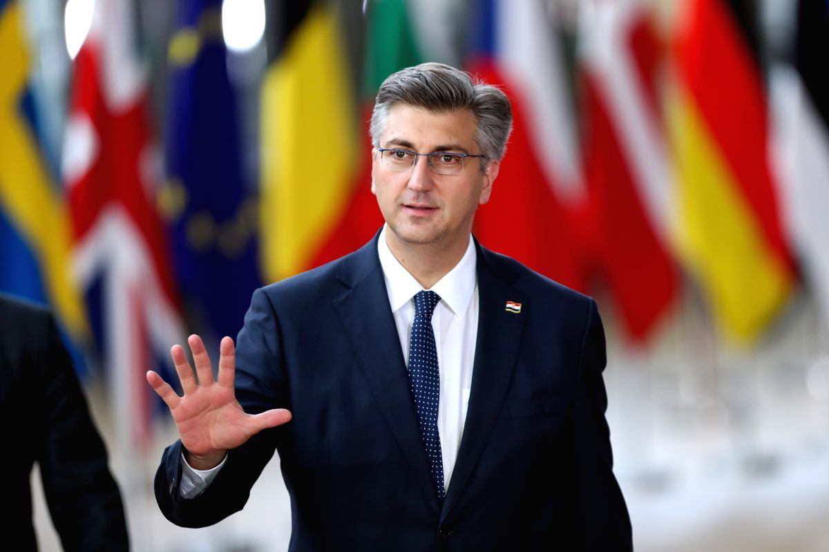 BRUSSELS, July 1, 2019 (Xinhua) -- Croatian Prime Minister Andrej Plenkovic arrives for the special summit of the European Council in Brussels, Belgium, on June 30, 2019. Leaders of the European Union's 28 member states started gathering on Sunday af