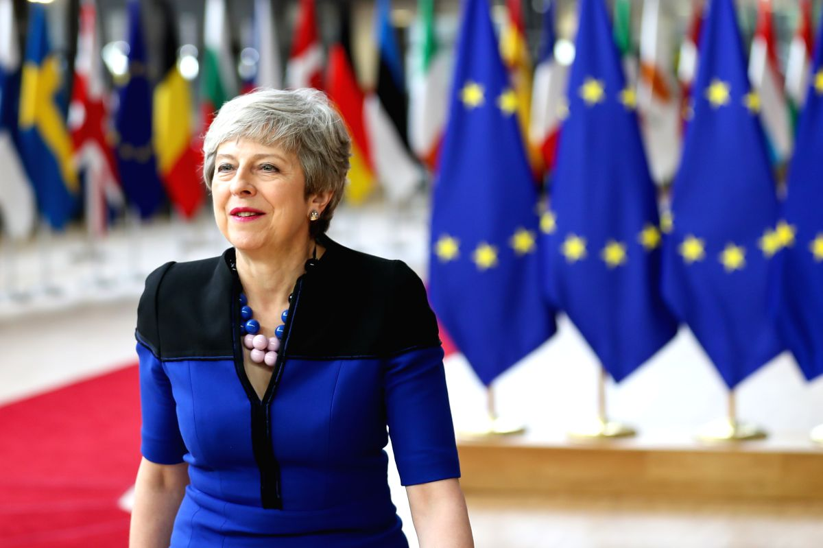 BRUSSELS, June 20, 2019 (Xinhua) -- British Prime Minister Theresa May arrives for the EU summer summit in Brussels, Belgium, June 20, 2019. (Xinhua/IANS)