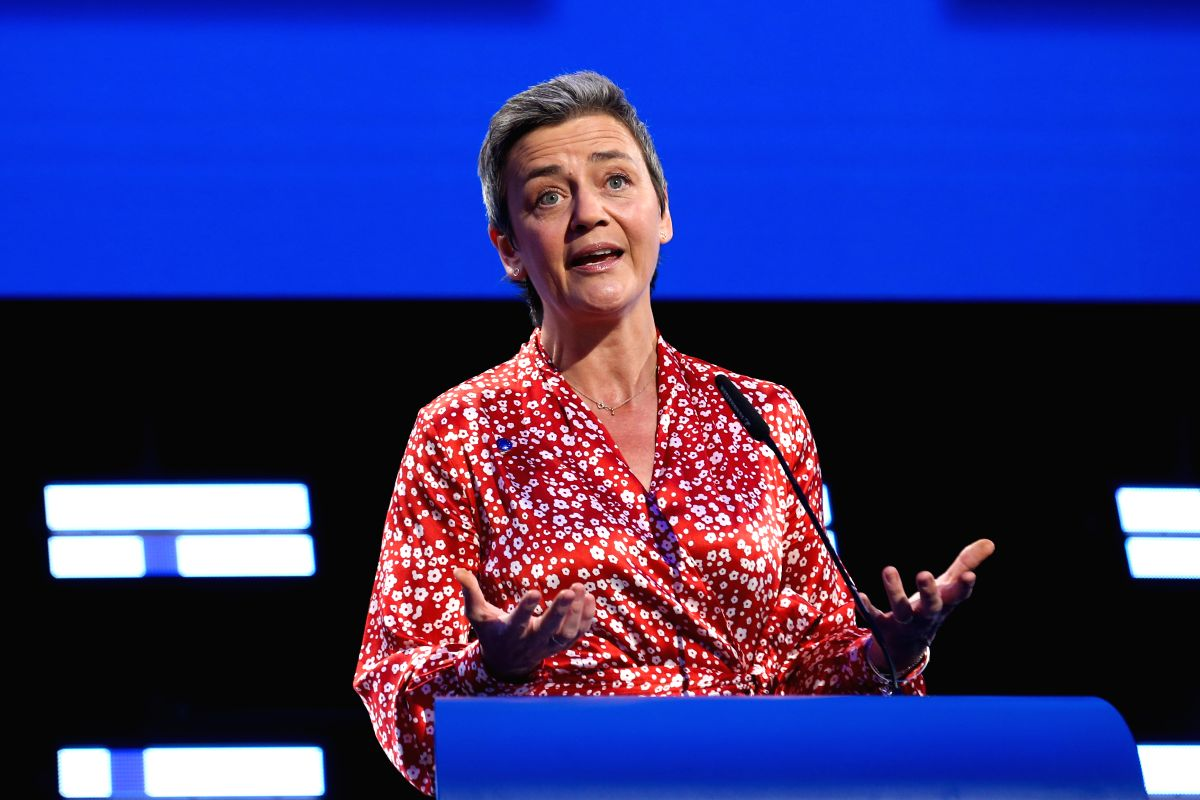 BRUSSELS, May 27, 2019 (Xinhua) -- Margrethe Vestager, European commissioner for competition and the Alliance of Liberals and Democrats for Europe group (ALDE) lead Candidate to the Presidency of the European Commission, speaks at the European Parlia