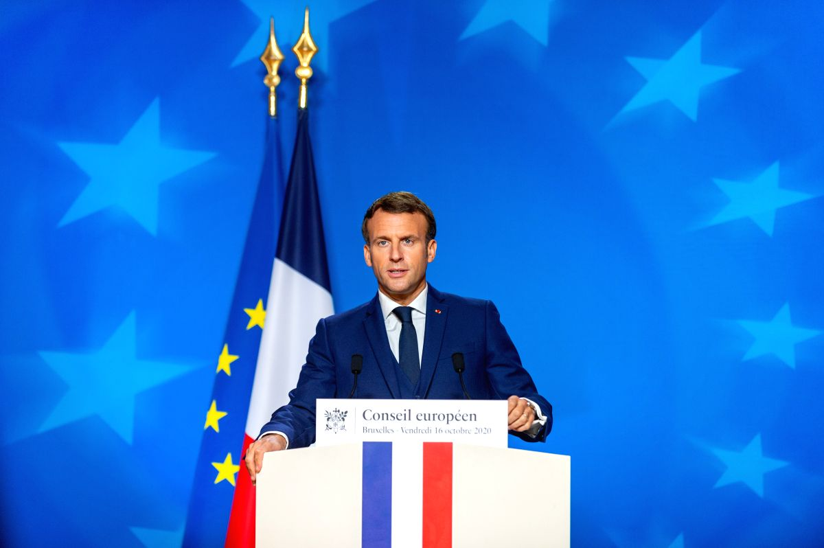 Brussels, Oct. 17, 2020 (Xinhua) -- French President Emmanuel Macron attends a press conference after the EU summit in Brussels, Belgium, on Oct. 16, 2020. The European Council concluded its 2-day summit on Friday afternoon. (European Union/Handout v
