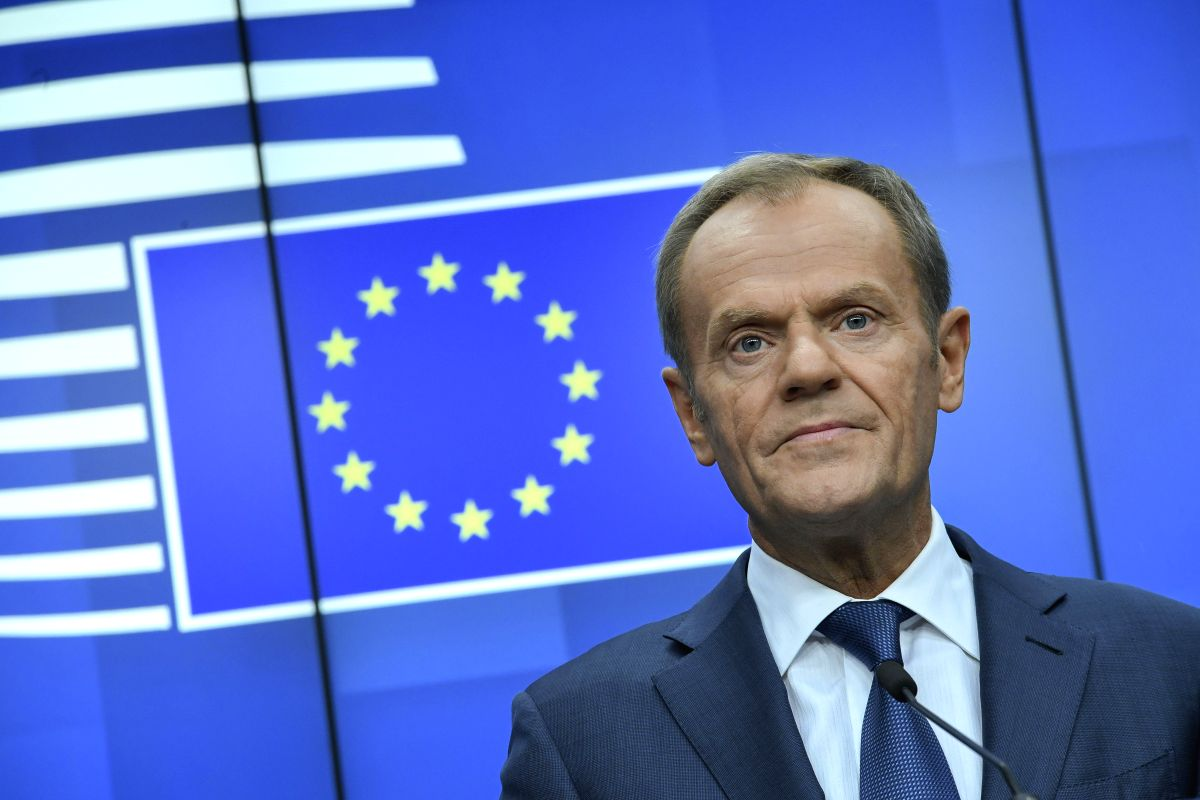 BRUSSELS, Oct. 18, 2019 (Xinhua) -- European Council President Donald Tusk attends a press conference at the end of the EU summit in Brussels, Belgium, Oct. 18, 2019. (Photo by Riccardo Pareggiani/Xinhua/IANS)
