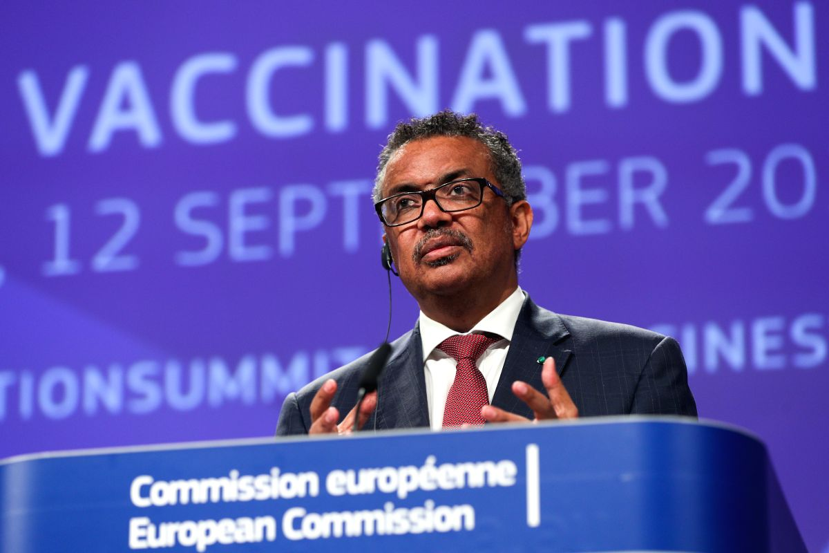 BRUSSELS, Sept. 12, 2019 - Director-General of the World Health Organization (WHO) Tedros Adhanom Ghebreyesus speaks during a press conference on occasion of the Global Vaccination Summit in Brussels, Belgium, Sept. 12, 2019.